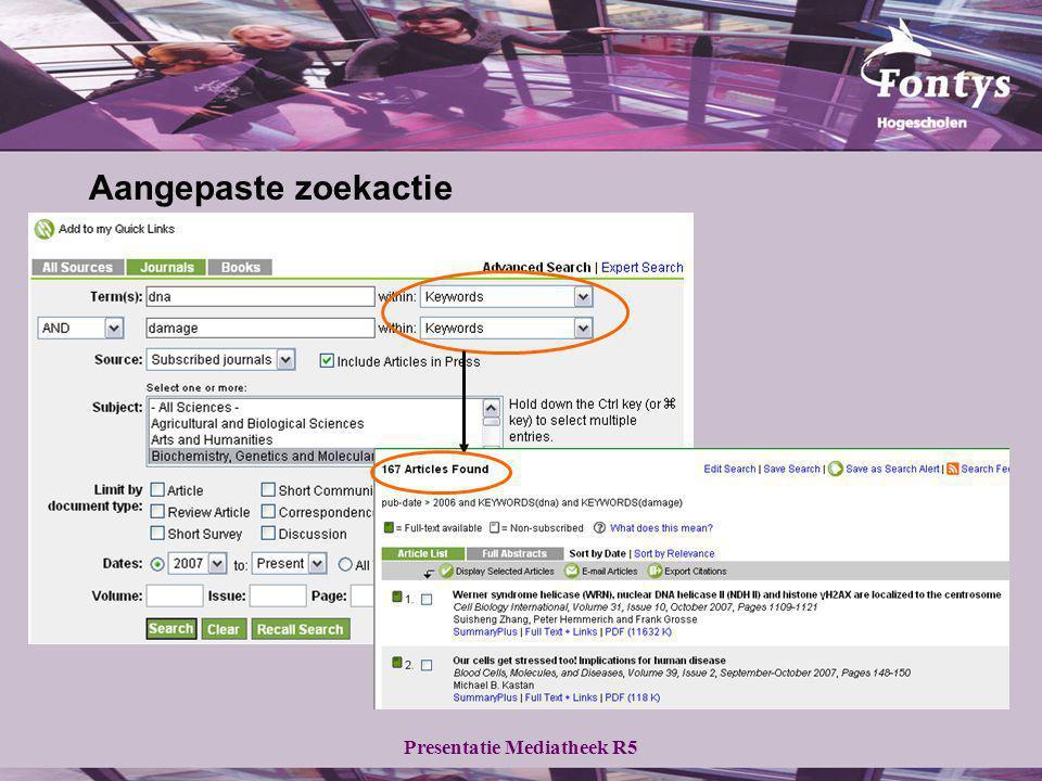 Presentatie Mediatheek R5 Aangepaste zoekactie
