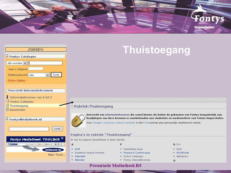 Presentatie Mediatheek R5 Maak gebruik van het gele zoekscherm Klik op Advanced Product Search