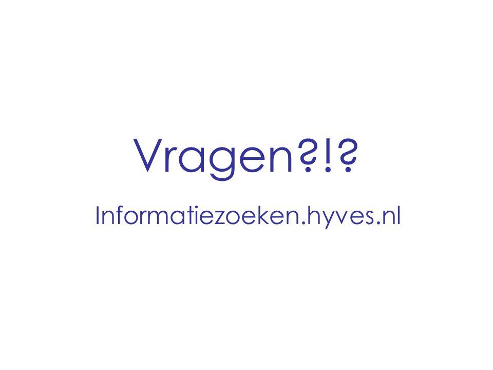 Vragen?!? Informatiezoeken.hyves.nl