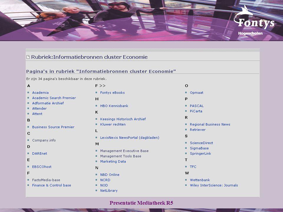 Presentatie Mediatheek R5 Zoeken op onderwerp selectie van databank in alle databanken kun je zoeken op onderwerp 3 voorbeelden:  Business Source Premier  Company.info  FactoMedia-Base