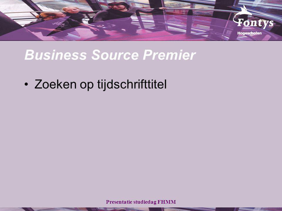 Business Source Premier Zoeken op tijdschrifttitel