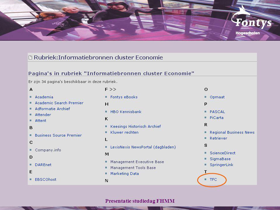 Presentatie studiedag FHMM