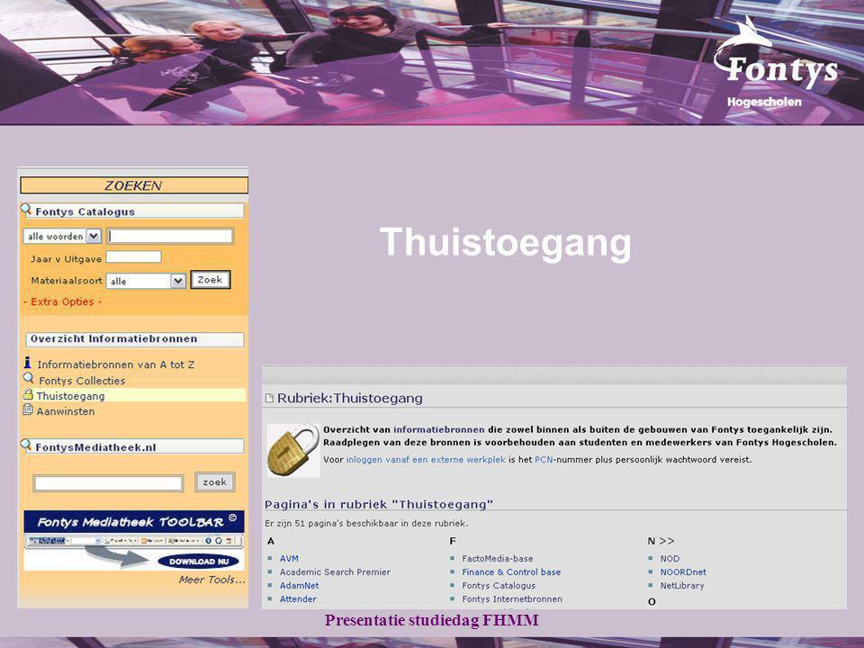 Presentatie studiedag FHMM Thuistoegang