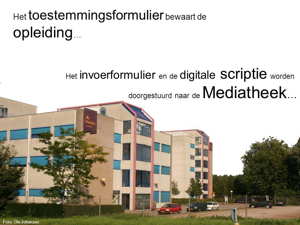 Het toestemmingsformulier bewaart de opleiding … Het invoerformulier en de digitale scriptie worden doorgestuurd naar de Mediatheek … Foto: Ole Johansen
