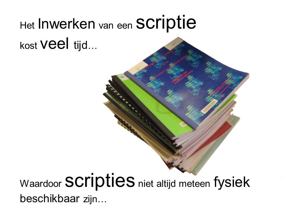 Het Inwerken van een scriptie kost veel tijd … Waardoor scripties niet altijd meteen fysiek beschikbaar zijn…