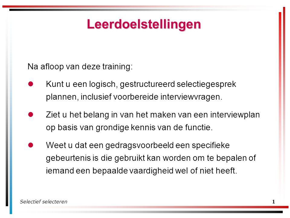 Selectief selecteren1 Leerdoelstellingen Na afloop van deze training: Kunt u een logisch, gestructureerd selectiegesprek plannen, inclusief voorbereid