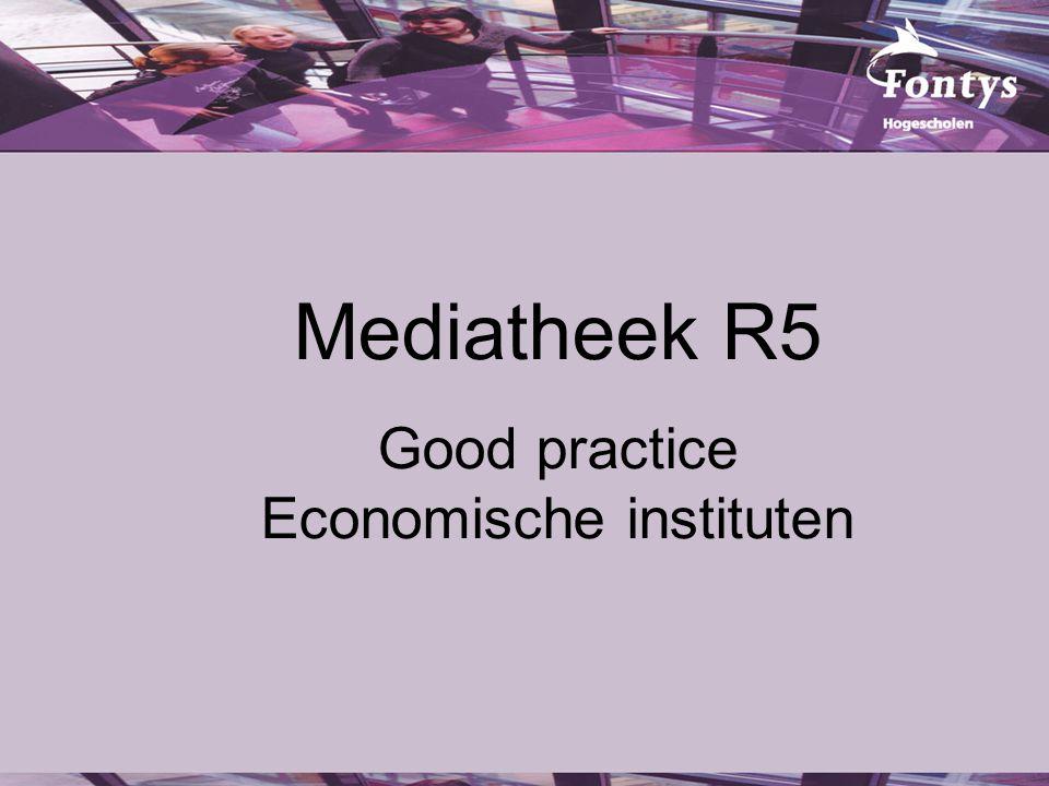 Inhoud Overzicht economische domeinen Historie instituutscontacten Mediatheek R5 Werkwijze Resultaten
