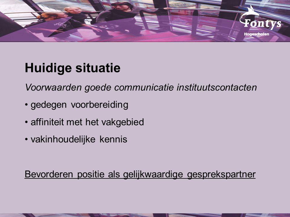 Huidige situatie Voorwaarden goede communicatie instituutscontacten gedegen voorbereiding affiniteit met het vakgebied vakinhoudelijke kennis Bevorderen positie als gelijkwaardige gesprekspartner