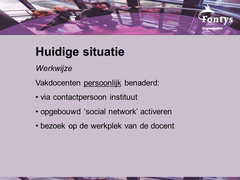 Huidige situatie Werkwijze Vakdocenten persoonlijk benaderd: via contactpersoon instituut opgebouwd 'social network' activeren bezoek op de werkplek van de docent