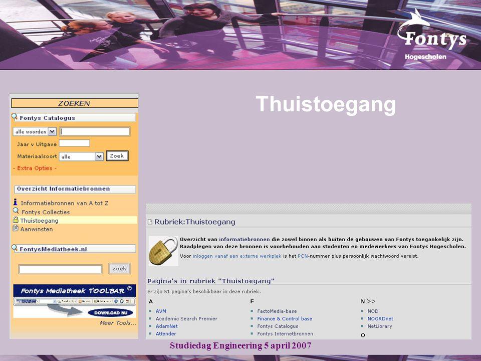 Studiedag Engineering 5 april 2007 Aangepaste zoekactie