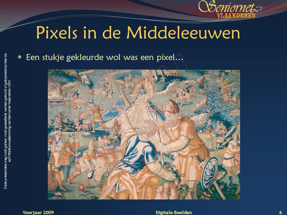 Deze presentatie mag noch geheel, noch gedeeltelijk worden gebruikt of gekopieerd zonder de schriftelijke toestemming van Seniornet Vlaanderen VZW Voorjaar 2009 Digitale Beelden Pixels in de Middeleeuwen Een stukje gekleurde wol was een pixel… 6