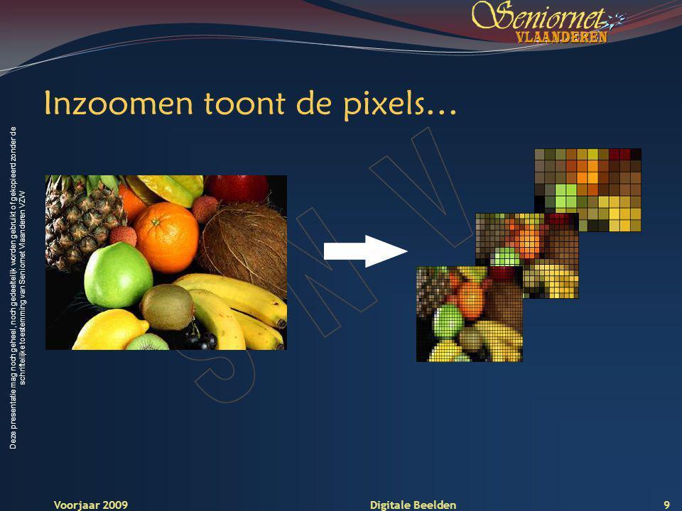 Deze presentatie mag noch geheel, noch gedeeltelijk worden gebruikt of gekopieerd zonder de schriftelijke toestemming van Seniornet Vlaanderen VZW Voorjaar 2009 Digitale Beelden Resolutie Resolutie is het vermogen om aangrenzende pixels te kunnen onderscheiden.
