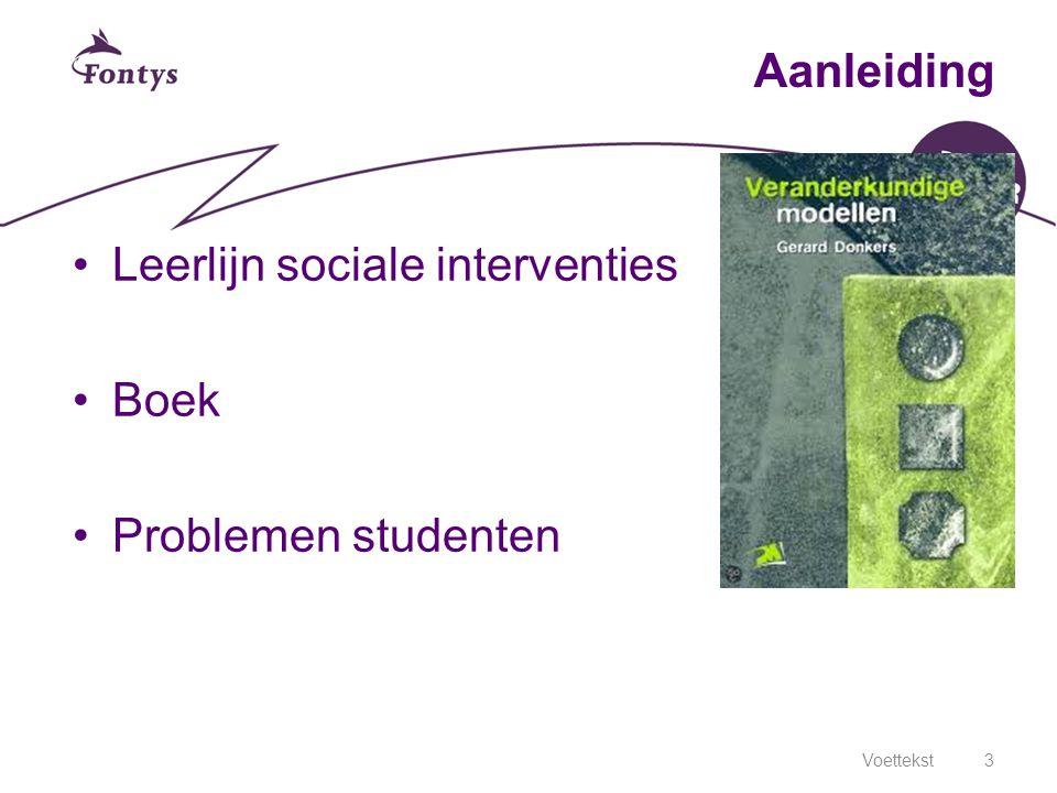 3 Aanleiding Leerlijn sociale interventies Boek Problemen studenten
