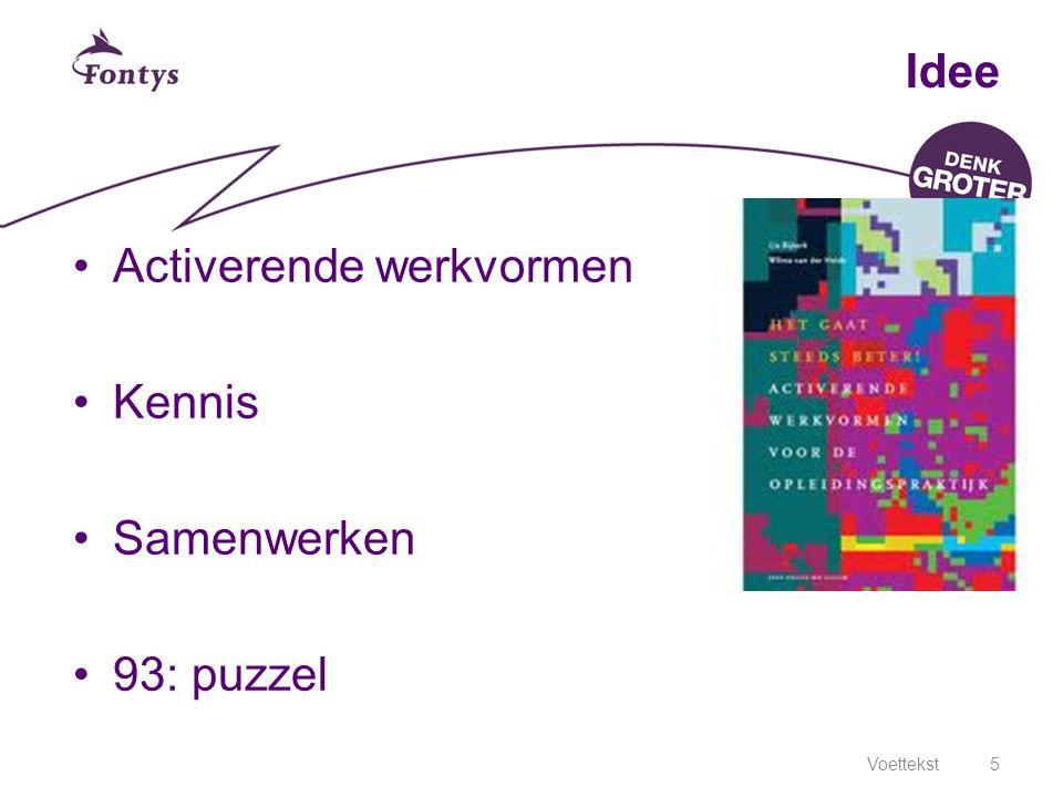 Voettekst5 Idee Activerende werkvormen Kennis Samenwerken 93: puzzel