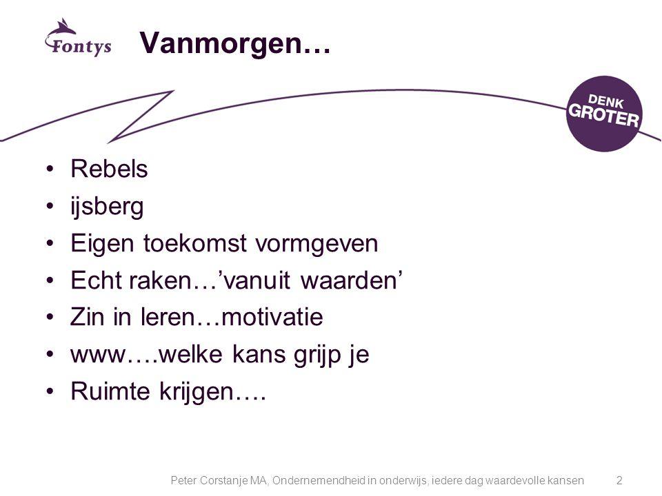 Vanmorgen… Rebels ijsberg Eigen toekomst vormgeven Echt raken…'vanuit waarden' Zin in leren…motivatie www….welke kans grijp je Ruimte krijgen…. 2Peter