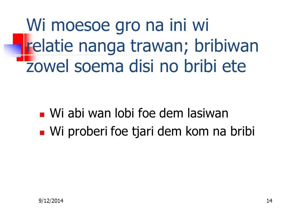 9/12/201413 Wi moesoe gro na ini wi skin nanga wi tem na ini grontapoe Fa wi wroko nanga wi moni Dem sani disi joe abi: Ibri sani wi abi kan de wan wr
