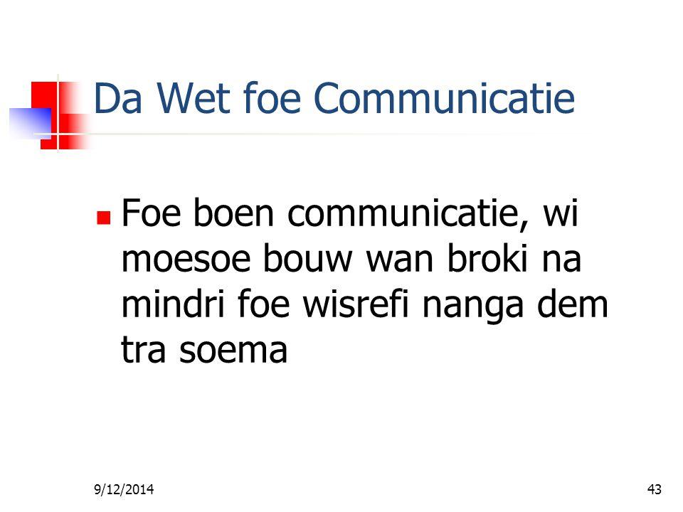 9/12/201442 Bijbel Baptist Kerk Predicant Les #4 - Da Wet foe Communicatie Ds. Robert Patton