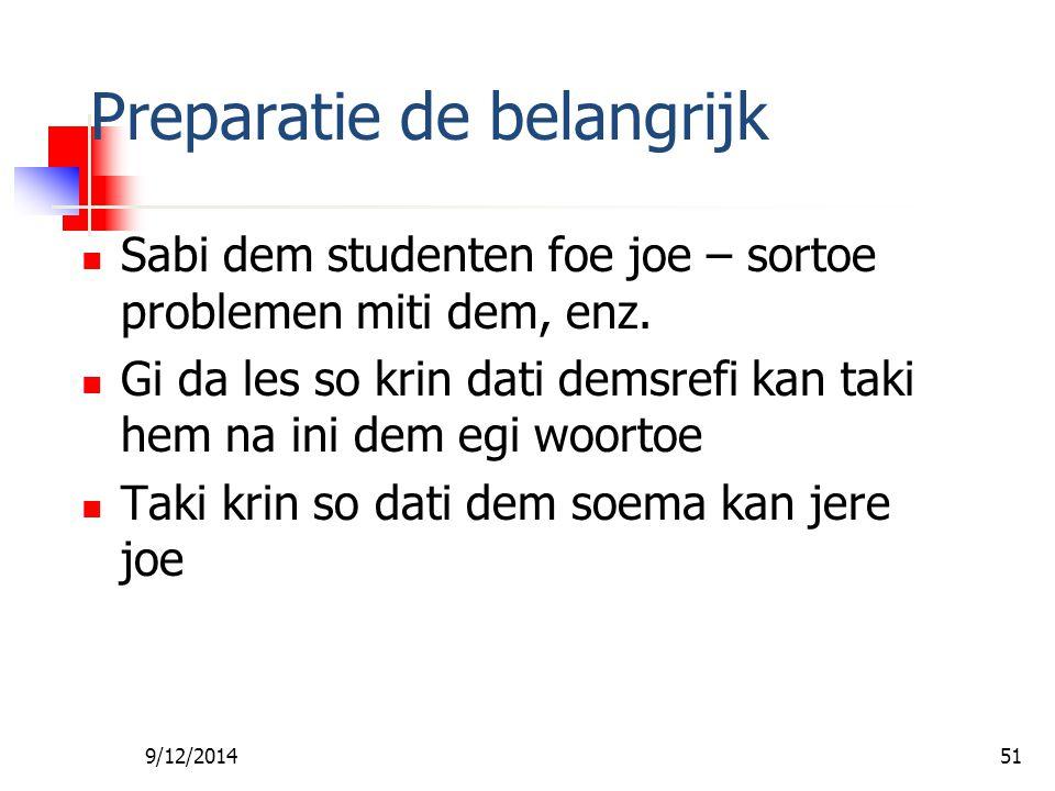 9/12/201450 Preparatie de belangrijk Abi wan boen inleiding foe kisi aandacht Sabi san joe sa taki leki da conclusie foe joe les Denki abra boen illus