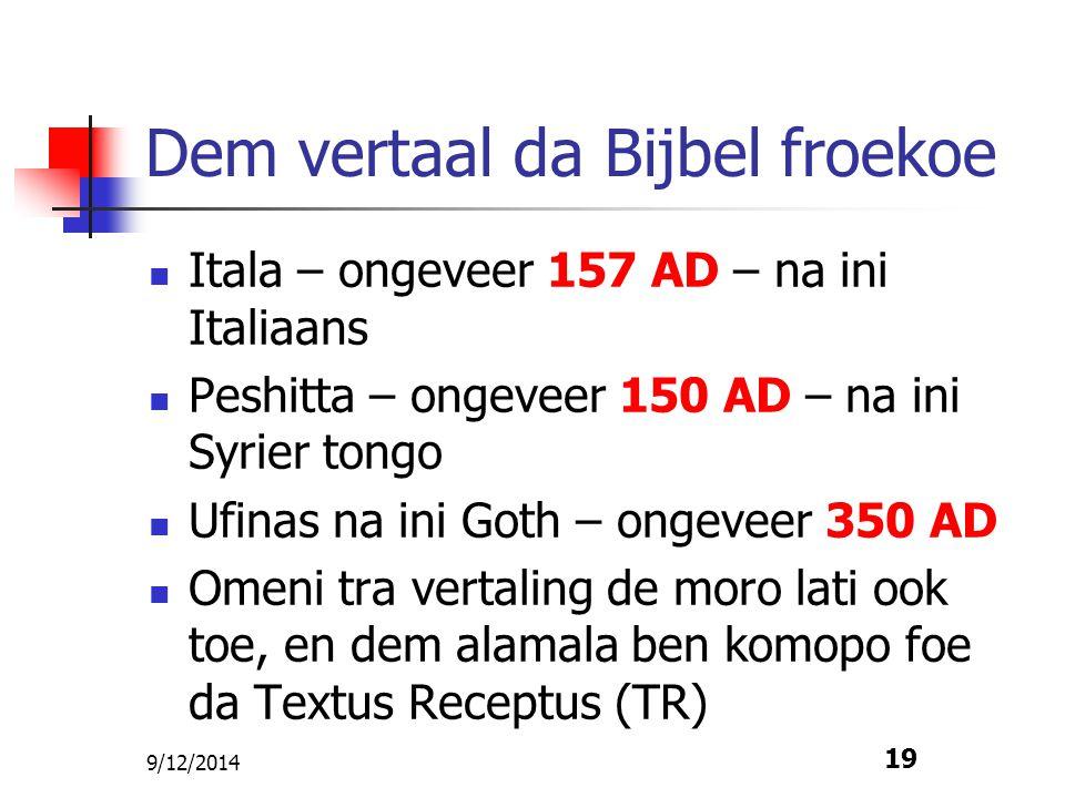 9/12/2014 19 Dem vertaal da Bijbel froekoe Itala – ongeveer 157 AD – na ini Italiaans Peshitta – ongeveer 150 AD – na ini Syrier tongo Ufinas na ini G