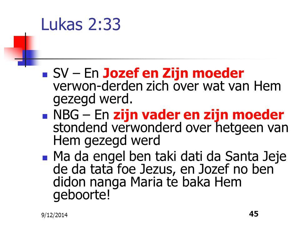 9/12/2014 45 Lukas 2:33 SV – En Jozef en Zijn moeder verwon-derden zich over wat van Hem gezegd werd. NBG – En zijn vader en zijn moeder stondend verw