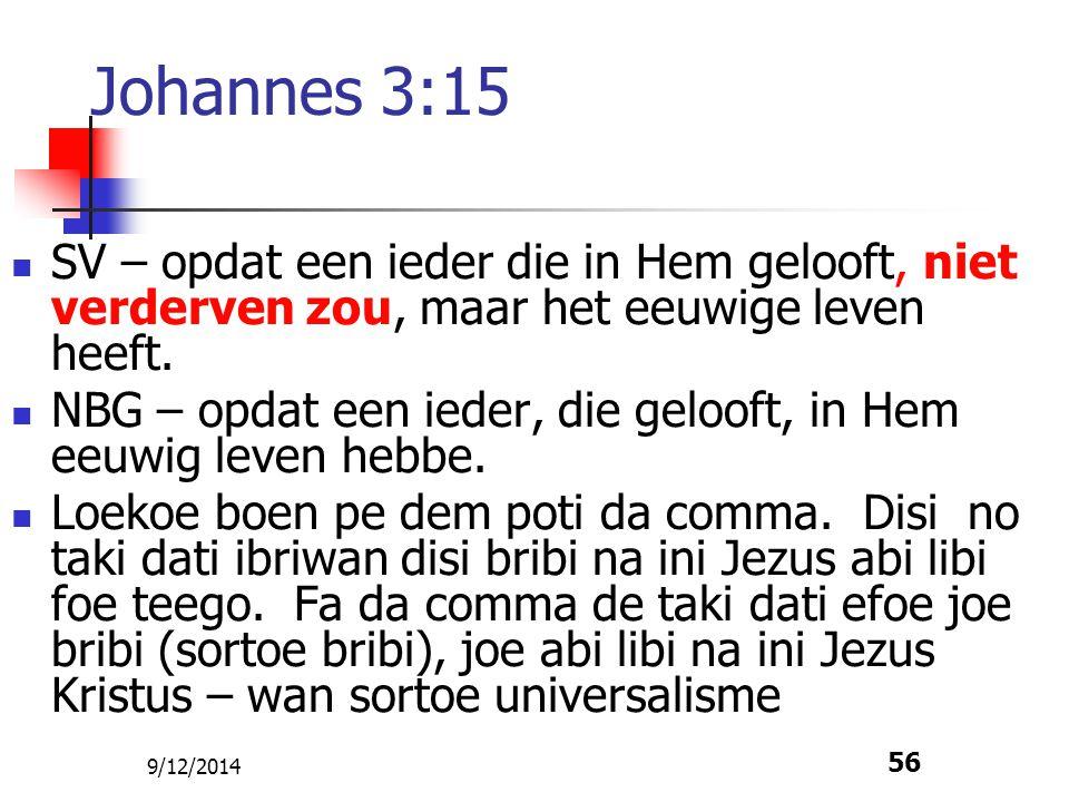 9/12/2014 56 Johannes 3:15 SV – opdat een ieder die in Hem gelooft, niet verderven zou, maar het eeuwige leven heeft. NBG – opdat een ieder, die geloo