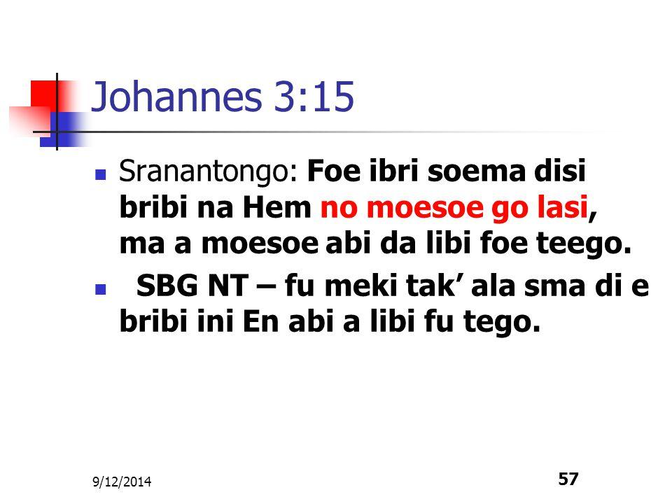 9/12/2014 57 Johannes 3:15 Sranantongo: Foe ibri soema disi bribi na Hem no moesoe go lasi, ma a moesoe abi da libi foe teego. SBG NT – fu meki tak' a