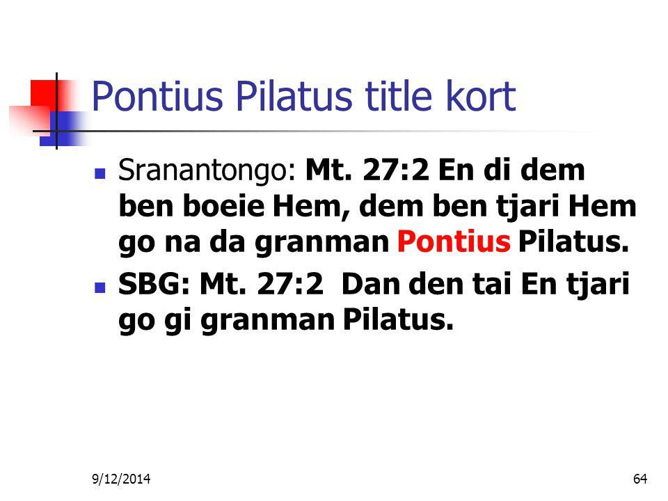 Poeroe wan profeti verwijzing Sranantongo: Mt.