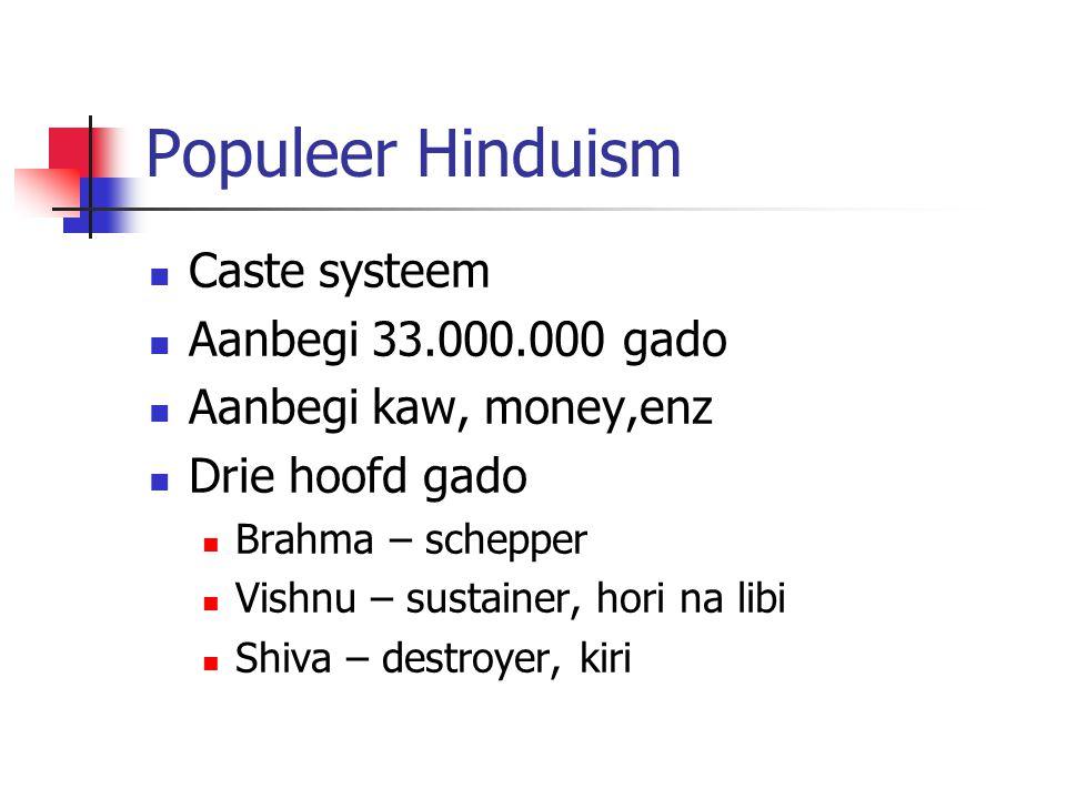 Populeer Hinduism Caste systeem Aanbegi 33.000.000 gado Aanbegi kaw, money,enz Drie hoofd gado Brahma – schepper Vishnu – sustainer, hori na libi Shiv