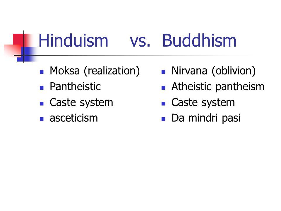 Hinduism vs. Buddhism Moksa (realization) Pantheistic Caste system asceticism Nirvana (oblivion) Atheistic pantheism Caste system Da mindri pasi