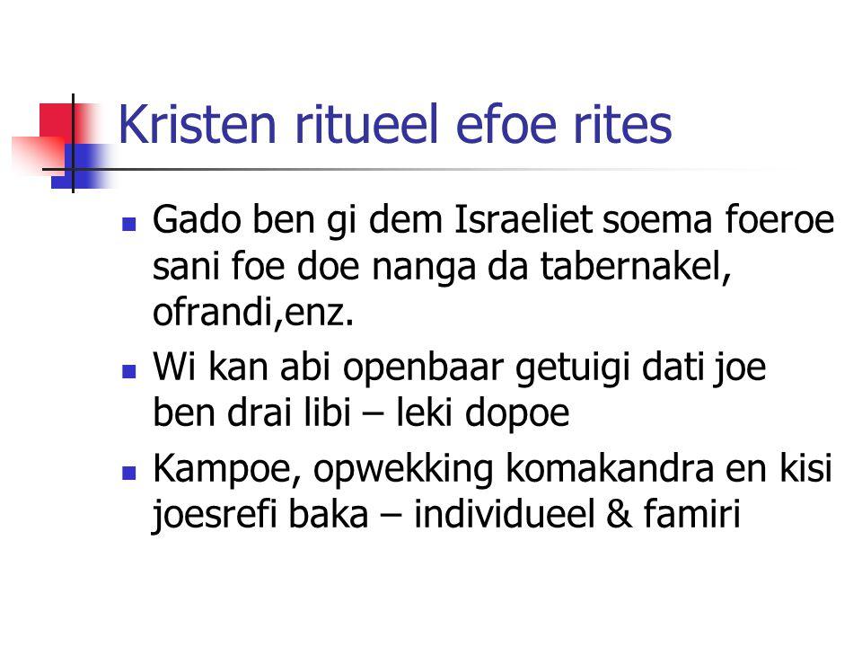 Kristen ritueel efoe rites Gado ben gi dem Israeliet soema foeroe sani foe doe nanga da tabernakel, ofrandi,enz.