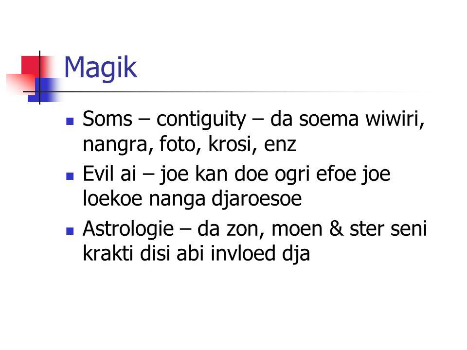 Magik Soms – contiguity – da soema wiwiri, nangra, foto, krosi, enz Evil ai – joe kan doe ogri efoe joe loekoe nanga djaroesoe Astrologie – da zon, moen & ster seni krakti disi abi invloed dja