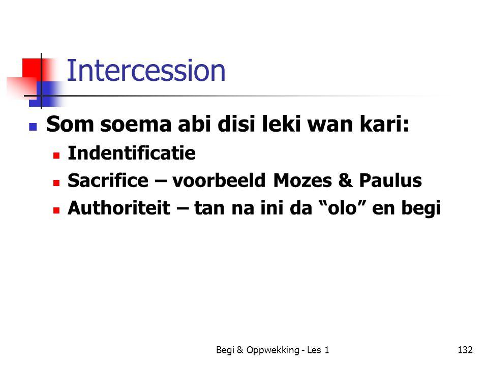 Begi & Oppwekking - Les 1132 Intercession Som soema abi disi leki wan kari: Indentificatie Sacrifice – voorbeeld Mozes & Paulus Authoriteit – tan na i