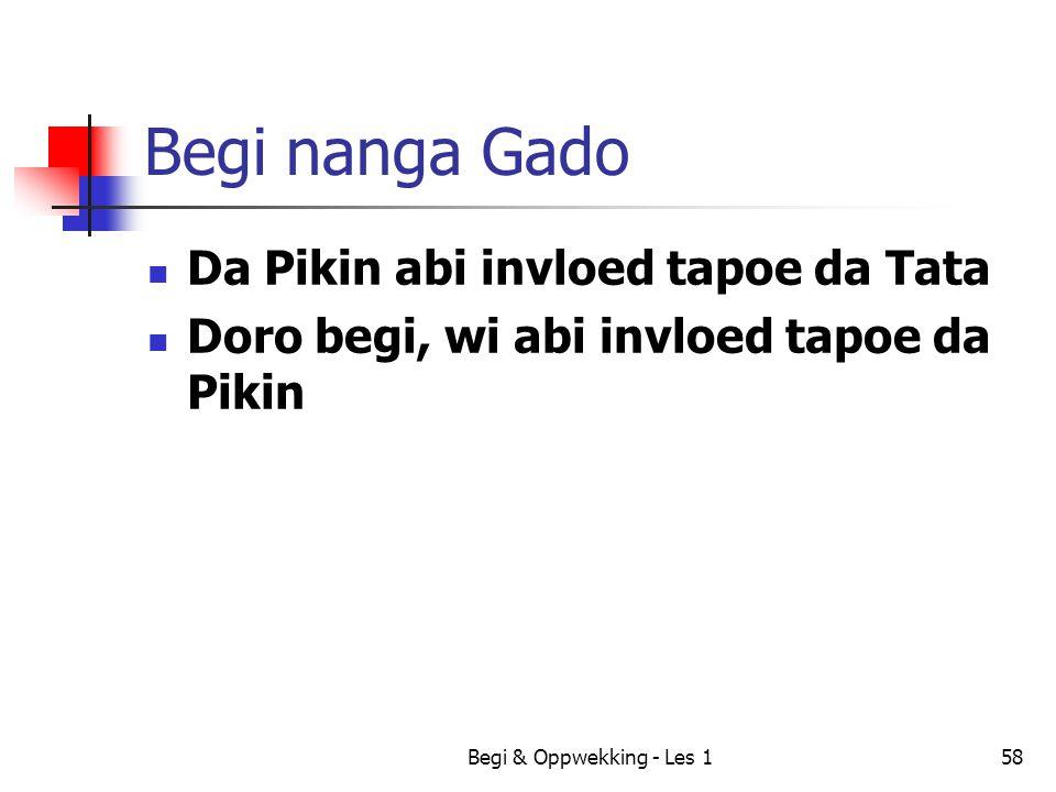 Begi & Oppwekking - Les 158 Begi nanga Gado Da Pikin abi invloed tapoe da Tata Doro begi, wi abi invloed tapoe da Pikin