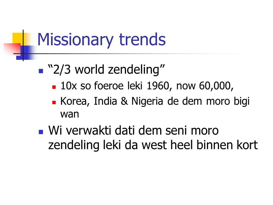 Missionary trends 2/3 world zendeling 10x so foeroe leki 1960, now 60,000, Korea, India & Nigeria de dem moro bigi wan Wi verwakti dati dem seni moro zendeling leki da west heel binnen kort