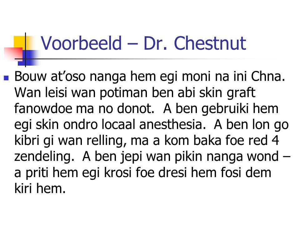 Voorbeeld – Dr.Chestnut Bouw at'oso nanga hem egi moni na ini Chna.