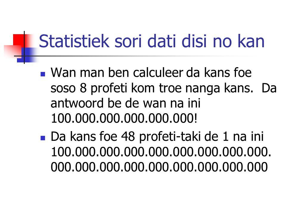 Statistiek sori dati disi no kan Wan man ben calculeer da kans foe soso 8 profeti kom troe nanga kans. Da antwoord be de wan na ini 100.000.000.000.00