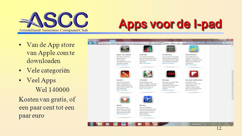 Apps voor de I-pad Van de App store van Apple.com te downloaden Vele categoriën Veel Apps Wel 140000 Kosten van gratis, of een paar cent tot een paar