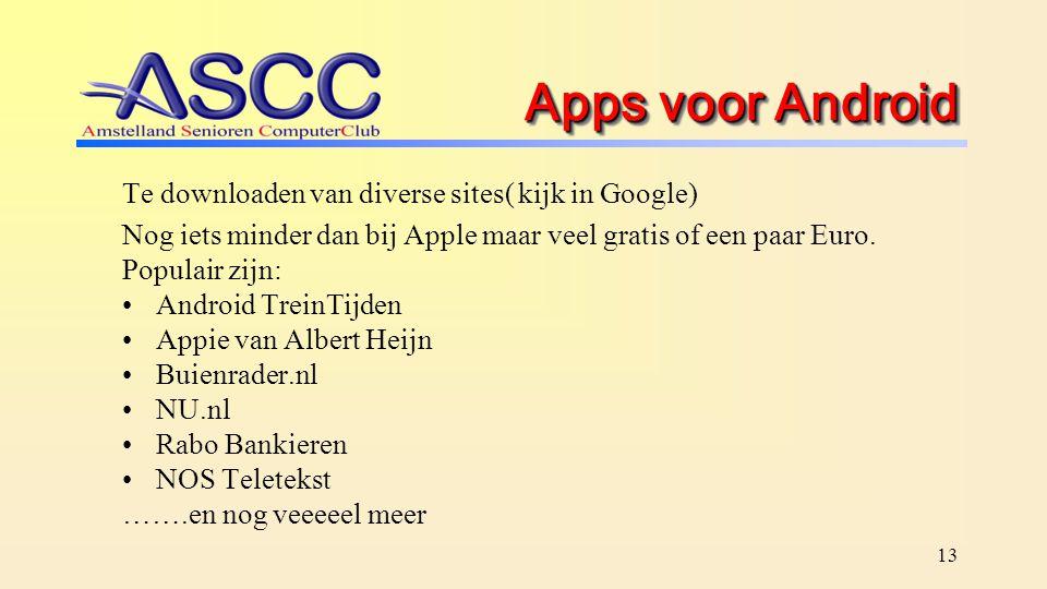 Apps voor Android Te downloaden van diverse sites( kijk in Google) Nog iets minder dan bij Apple maar veel gratis of een paar Euro. Populair zijn: And