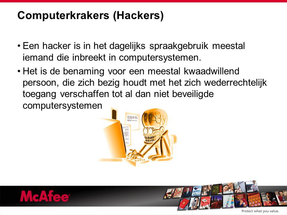 Computerkrakers (Hackers) Een hacker is in het dagelijks spraakgebruik meestal iemand die inbreekt in computersystemen.