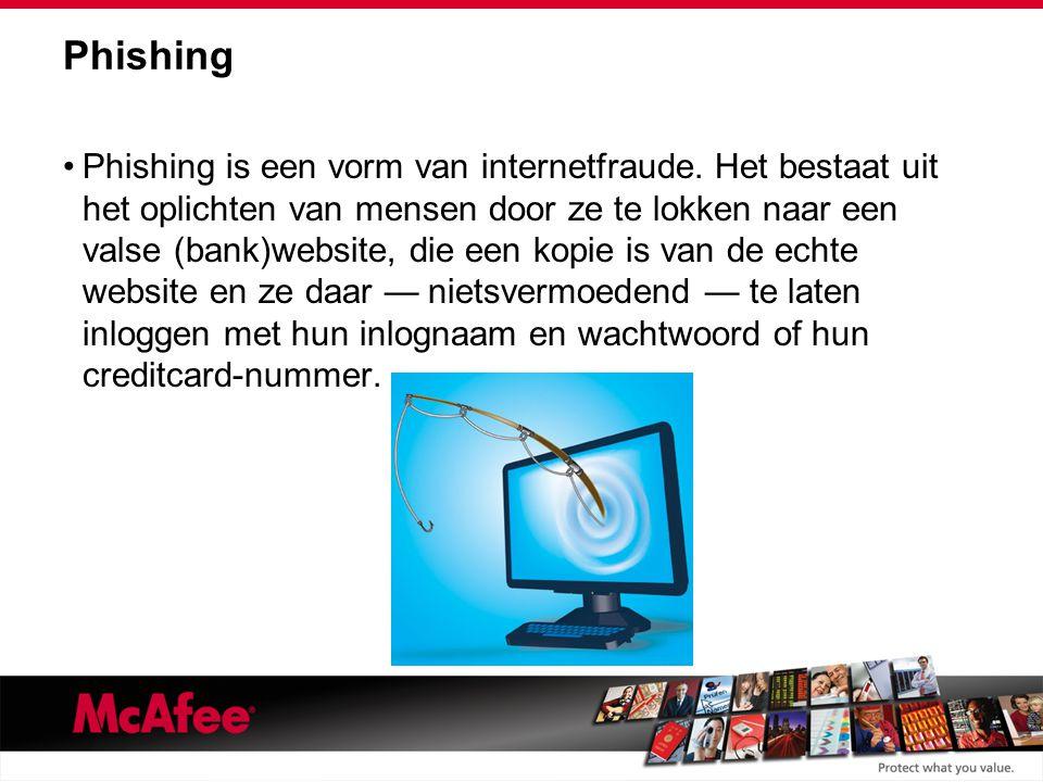 Phishing Phishing is een vorm van internetfraude.