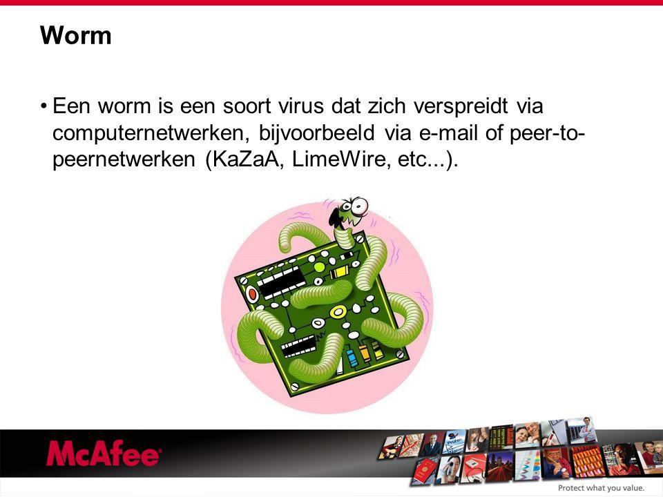 Worm Een worm is een soort virus dat zich verspreidt via computernetwerken, bijvoorbeeld via e-mail of peer-to- peernetwerken (KaZaA, LimeWire, etc...).
