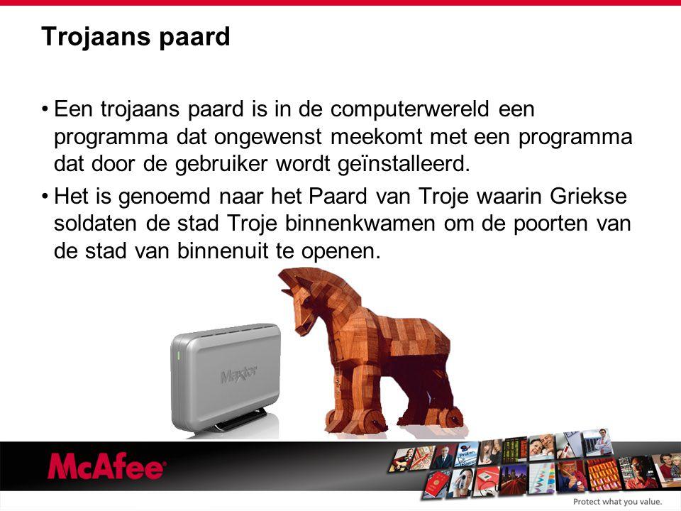 Trojaans paard Een trojaans paard is in de computerwereld een programma dat ongewenst meekomt met een programma dat door de gebruiker wordt geïnstalleerd.