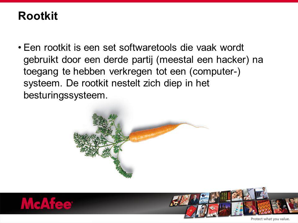 Rootkit Een rootkit is een set softwaretools die vaak wordt gebruikt door een derde partij (meestal een hacker) na toegang te hebben verkregen tot een (computer-) systeem.