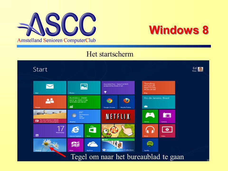 Windows 8 Het startscherm Tegel om naar het bureaublad te gaan