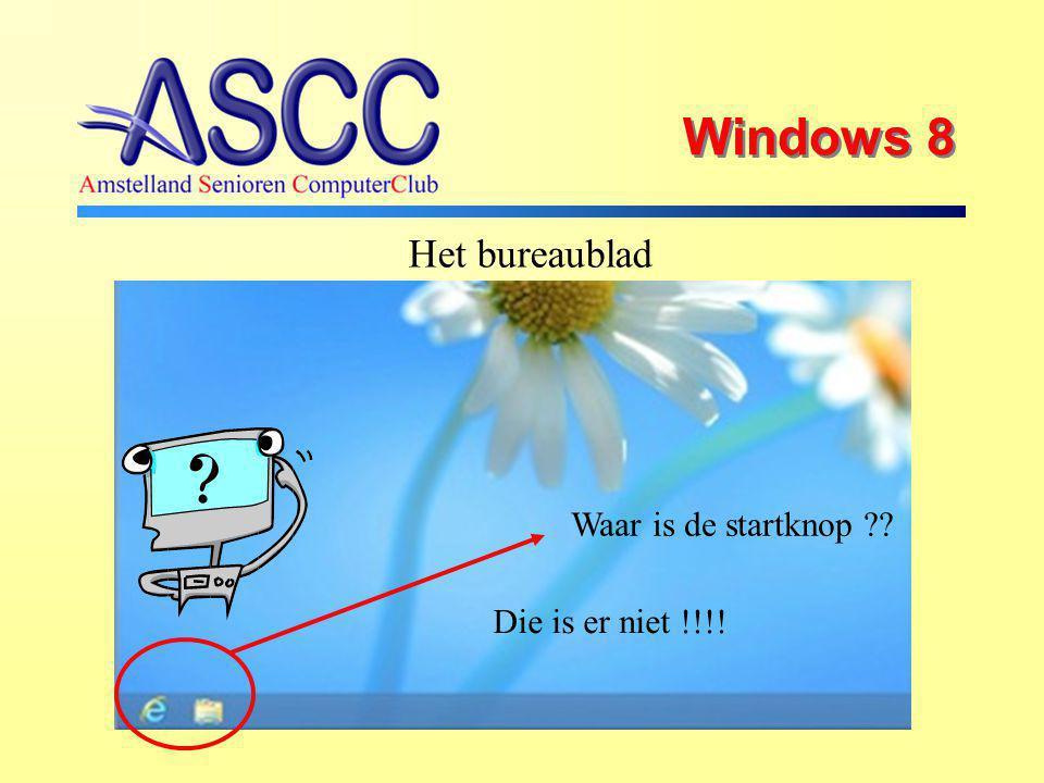 Windows 8 Het bureaublad Waar is de startknop Die is er niet !!!!