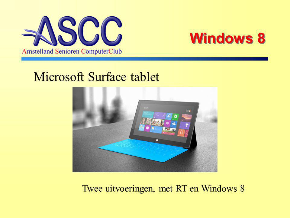 Windows 8 Microsoft Surface tablet Twee uitvoeringen, met RT en Windows 8