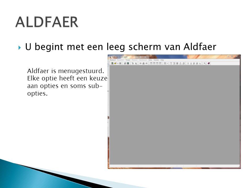  U begint met een leeg scherm van Aldfaer Aldfaer is menugestuurd. Elke optie heeft een keuze aan opties en soms sub- opties.