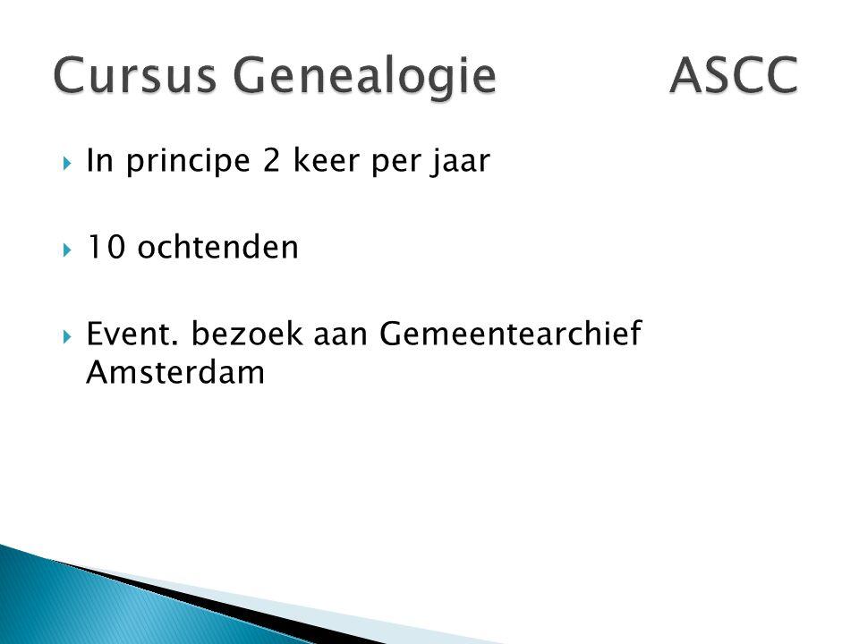  In principe 2 keer per jaar  10 ochtenden  Event. bezoek aan Gemeentearchief Amsterdam