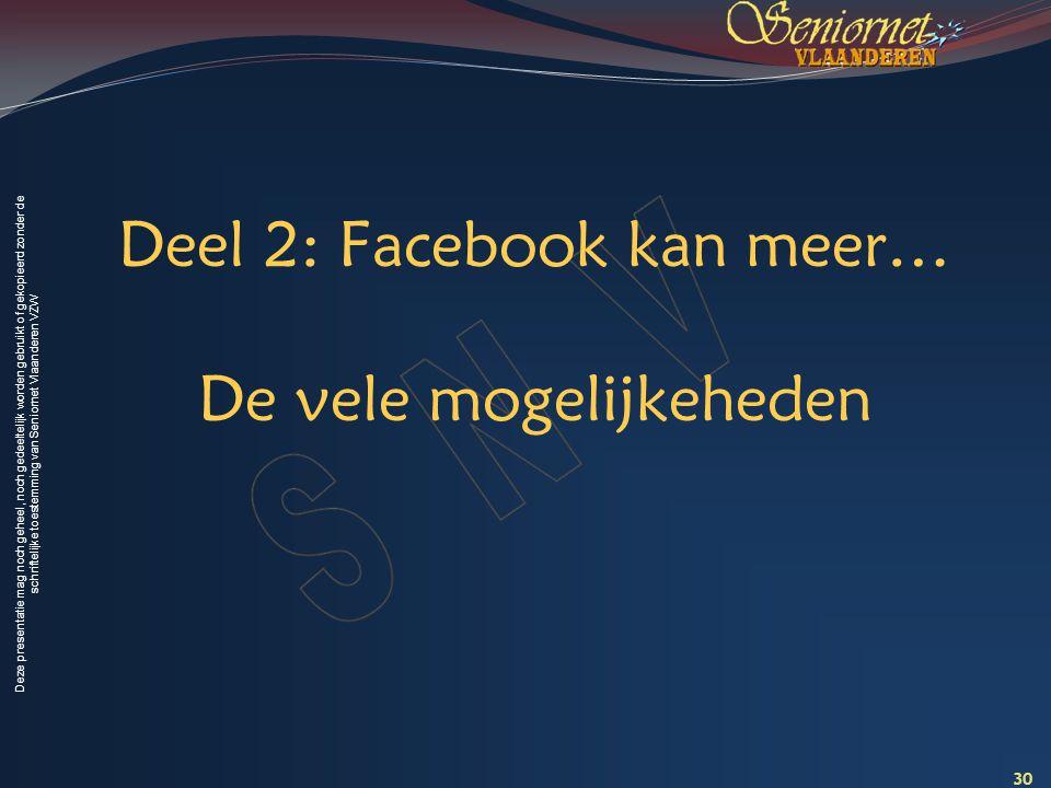 Deze presentatie mag noch geheel, noch gedeeltelijk worden gebruikt of gekopieerd zonder de schriftelijke toestemming van Seniornet Vlaanderen VZW Dee