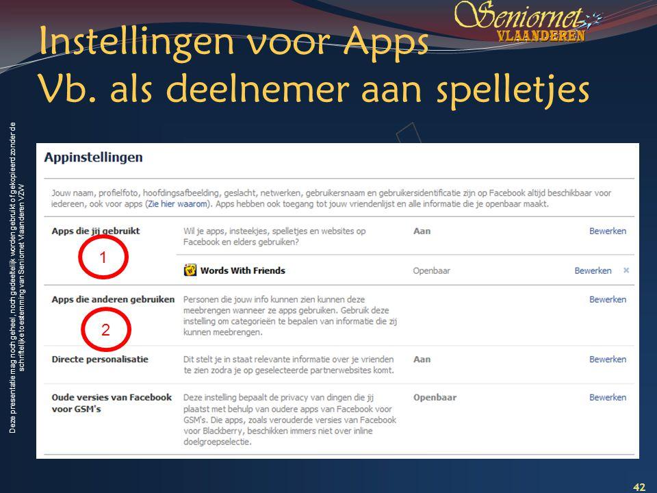 Deze presentatie mag noch geheel, noch gedeeltelijk worden gebruikt of gekopieerd zonder de schriftelijke toestemming van Seniornet Vlaanderen VZW Ins